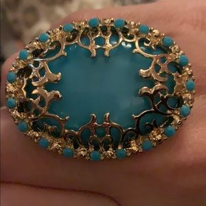 Blue and gold adjustable ring